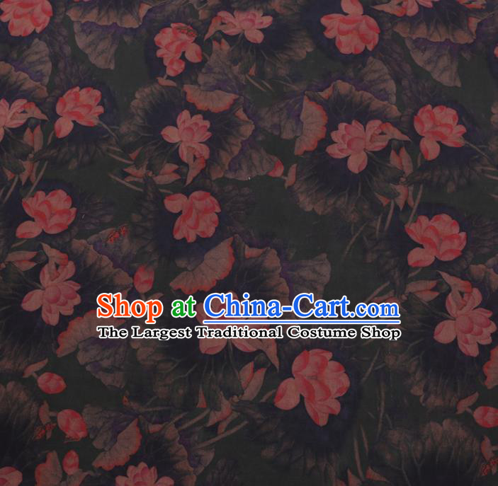 Chinese Cheongsam Classical Lotus Pattern Design Deep Green Watered Gauze Fabric Asian Traditional Silk Material
