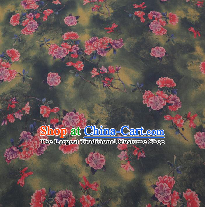 Chinese Cheongsam Classical Flowers Pattern Design Green Watered Gauze Fabric Asian Traditional Silk Material