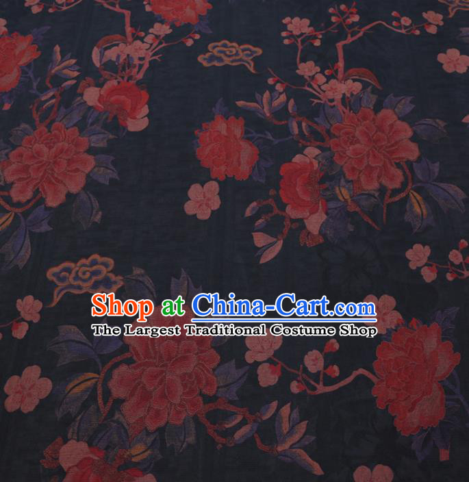 Chinese Cheongsam Classical Peony Plum Pattern Design Black Watered Gauze Fabric Asian Traditional Silk Material