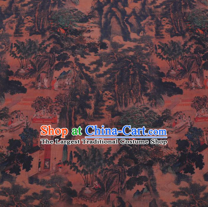 Chinese Cheongsam Classical Pattern Design Ginger Watered Gauze Fabric Asian Traditional Silk Material