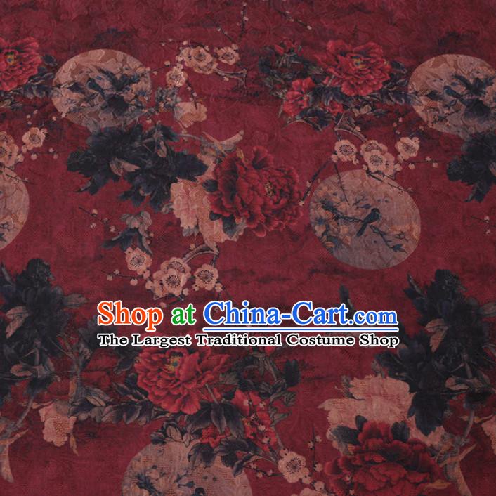 Asian Chinese Classical Peony Plum Pattern Design Dark Red Watered Gauze Fabric Traditional Silk Material