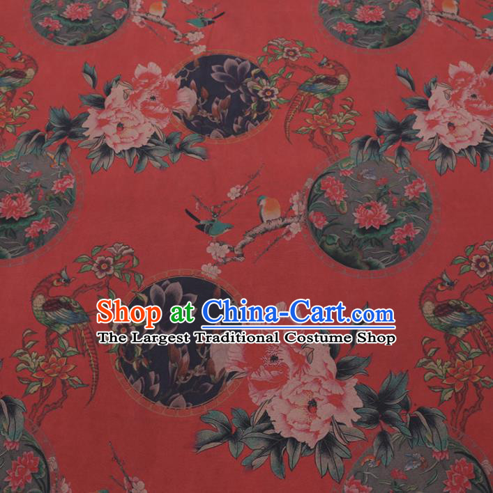 Chinese Cheongsam Classical Peony Plum Pattern Design Red Watered Gauze Fabric Asian Traditional Silk Material