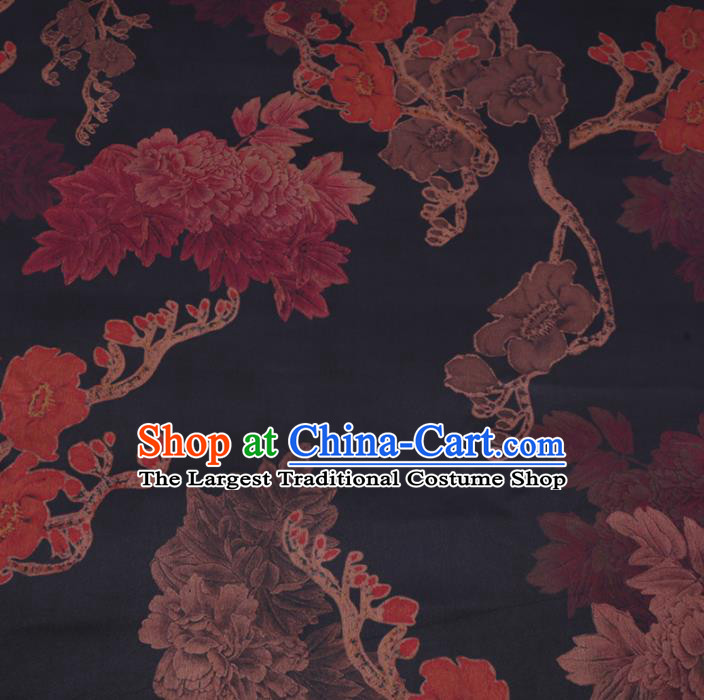Chinese Cheongsam Classical Magnolia Peony Pattern Design Black Watered Gauze Fabric Asian Traditional Silk Material