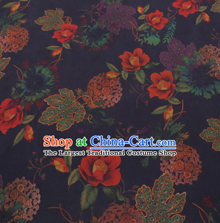 Chinese Cheongsam Classical Flowers Pattern Design Navy Watered Gauze Fabric Asian Traditional Silk Material