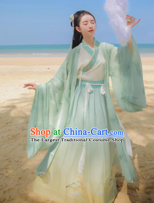 Chinese Ancient Royal Princess Embroidered Dress Traditional Jin Dynasty Female Scholar Costumes for Women