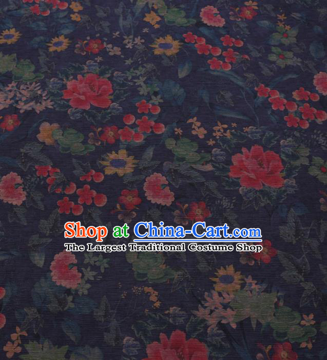 Chinese Cheongsam Classical Flowers Pattern Design Navy Blue Watered Gauze Fabric Asian Traditional Silk Material
