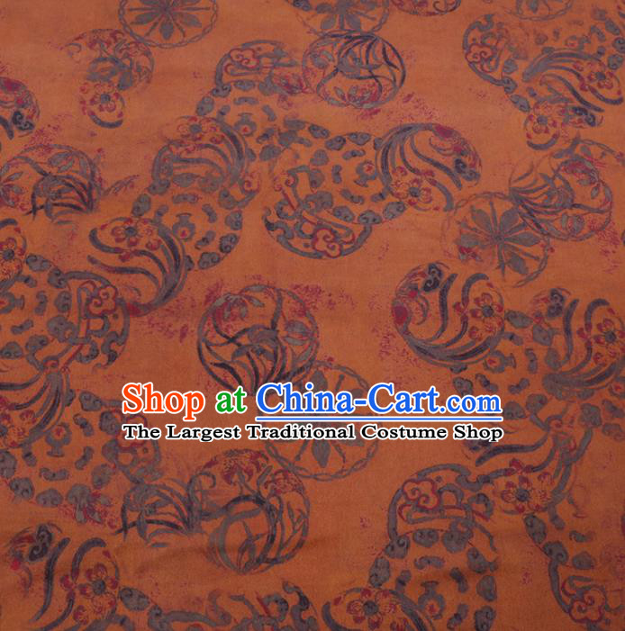 Chinese Cheongsam Classical Wheel Pattern Design Yellow Watered Gauze Fabric Asian Traditional Silk Material