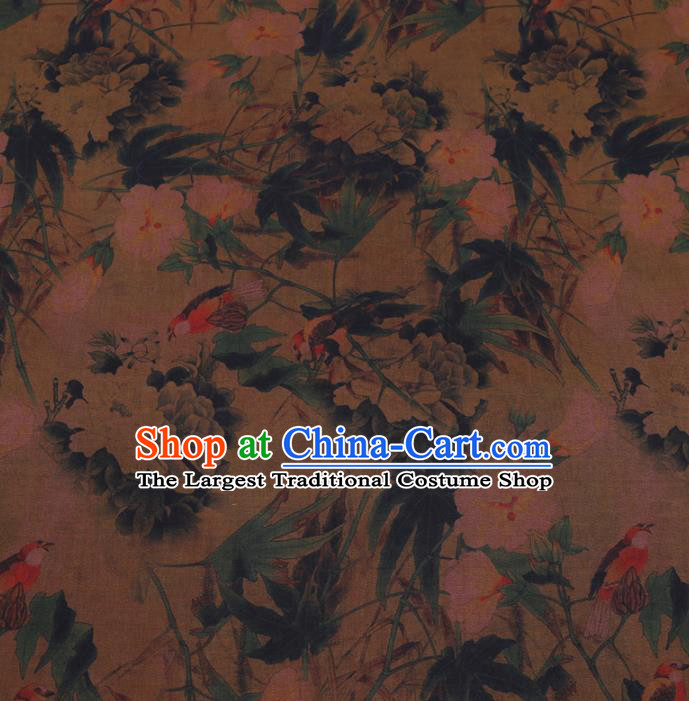 Chinese Cheongsam Classical Pear Flowers Pattern Design Khaki Watered Gauze Fabric Asian Traditional Silk Material
