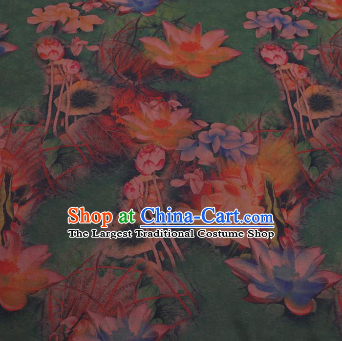 Chinese Cheongsam Classical Lotus Pattern Design Green Watered Gauze Fabric Asian Traditional Silk Material