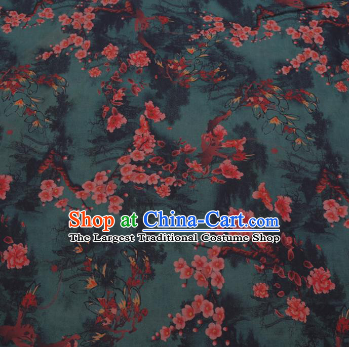Chinese Cheongsam Classical Plum Blossom Pattern Design Deep Green Watered Gauze Fabric Asian Traditional Silk Material