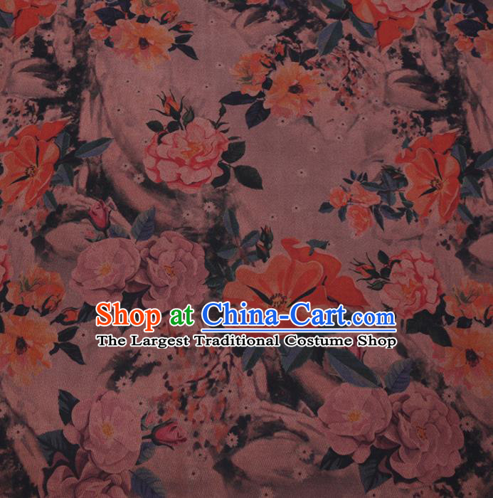 Chinese Cheongsam Classical Camellia Pattern Design Khaki Watered Gauze Fabric Asian Traditional Silk Material