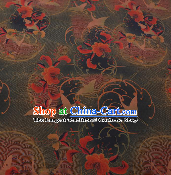 Chinese Cheongsam Classical Crane Peony Pattern Design Green Watered Gauze Fabric Asian Traditional Silk Material