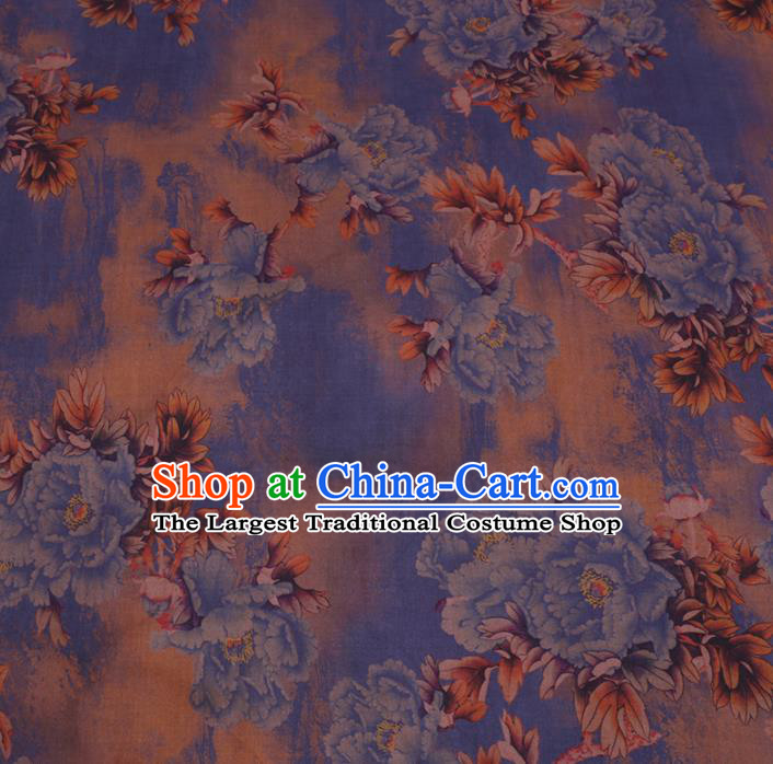 Chinese Cheongsam Classical Blue Peony Pattern Design Ginger Watered Gauze Fabric Asian Traditional Silk Material