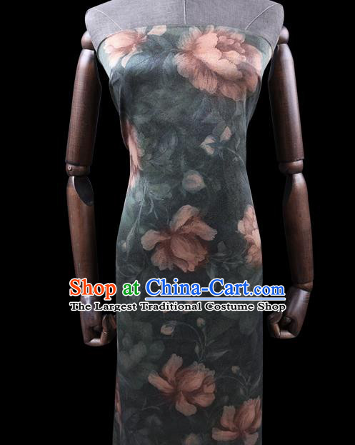 Chinese Cheongsam Classical Lotus Flowers Pattern Design Dark Green Watered Gauze Fabric Asian Traditional Silk Material