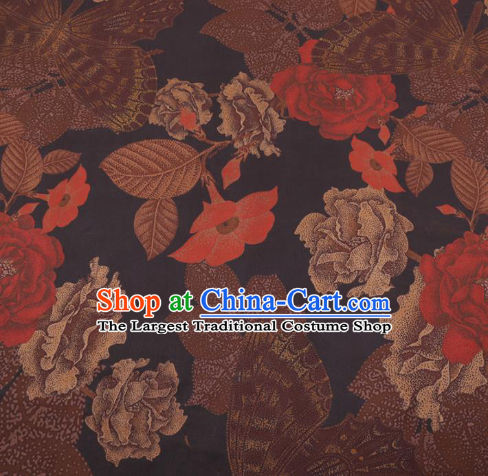 Chinese Cheongsam Classical Peony Flowers Pattern Design Black Watered Gauze Fabric Asian Traditional Silk Material