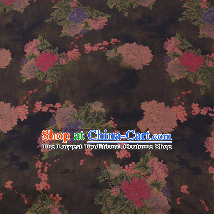 Chinese Cheongsam Classical Plum Peony Pattern Design Black Watered Gauze Fabric Asian Traditional Silk Material
