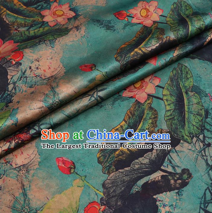 Chinese Cheongsam Classical Lotus Pattern Design Blue Watered Gauze Fabric Asian Traditional Silk Material