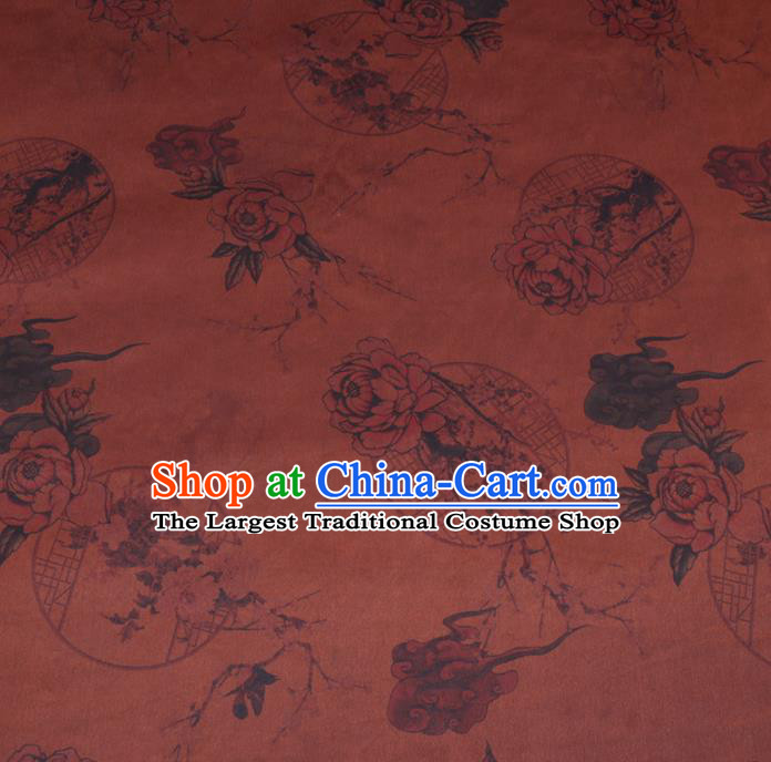 Chinese Cheongsam Classical Plum Peony Pattern Design Rust Red Watered Gauze Fabric Asian Traditional Silk Material