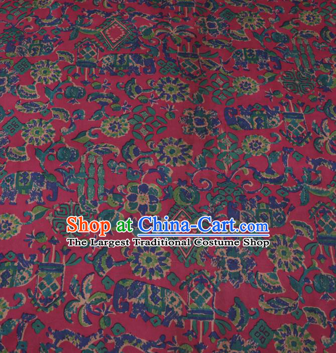 Chinese Cheongsam Classical Pattern Design Wine Red Watered Gauze Fabric Asian Traditional Silk Material
