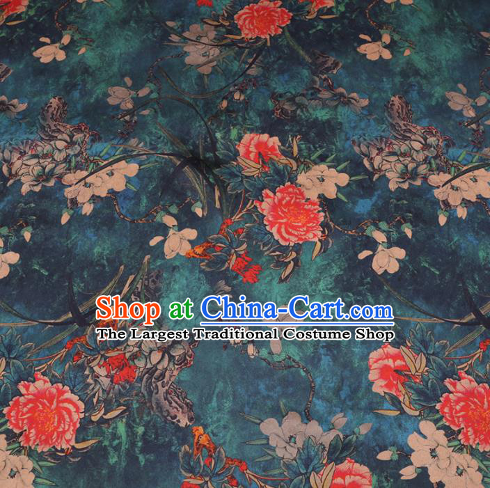 Chinese Cheongsam Classical Magnolia Peony Pattern Design Peacock Green Watered Gauze Fabric Asian Traditional Silk Material