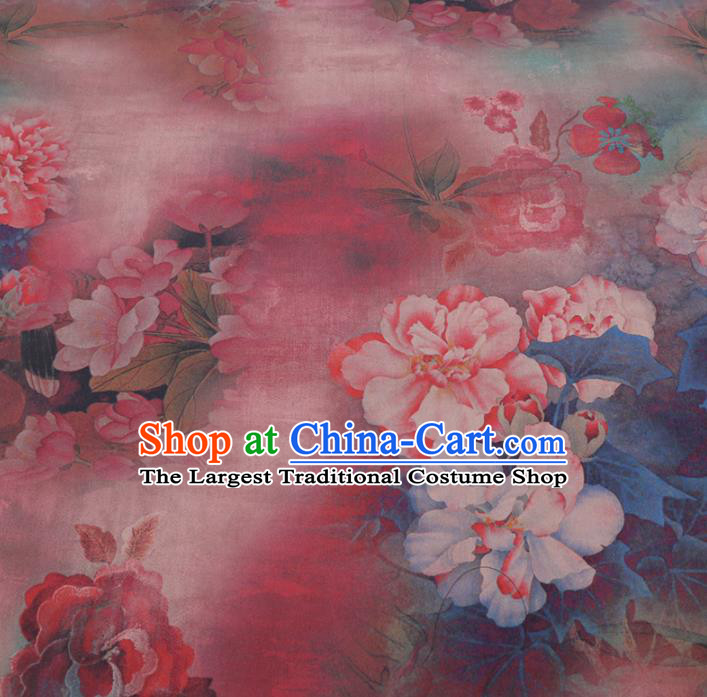 Chinese Cheongsam Classical Peony Pattern Design Pink Watered Gauze Fabric Asian Traditional Silk Material