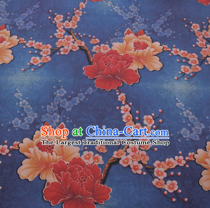 Chinese Cheongsam Classical Peony Plum Pattern Design Blue Watered Gauze Fabric Asian Traditional Silk Material
