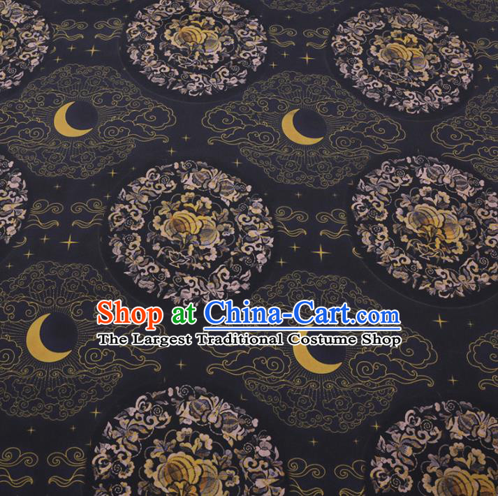 Chinese Cheongsam Classical Moon Pattern Design Black Watered Gauze Fabric Asian Traditional Silk Material