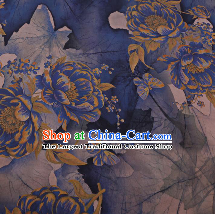 Chinese Cheongsam Classical Peony Flowers Pattern Design Navy Blue Watered Gauze Fabric Asian Traditional Silk Material