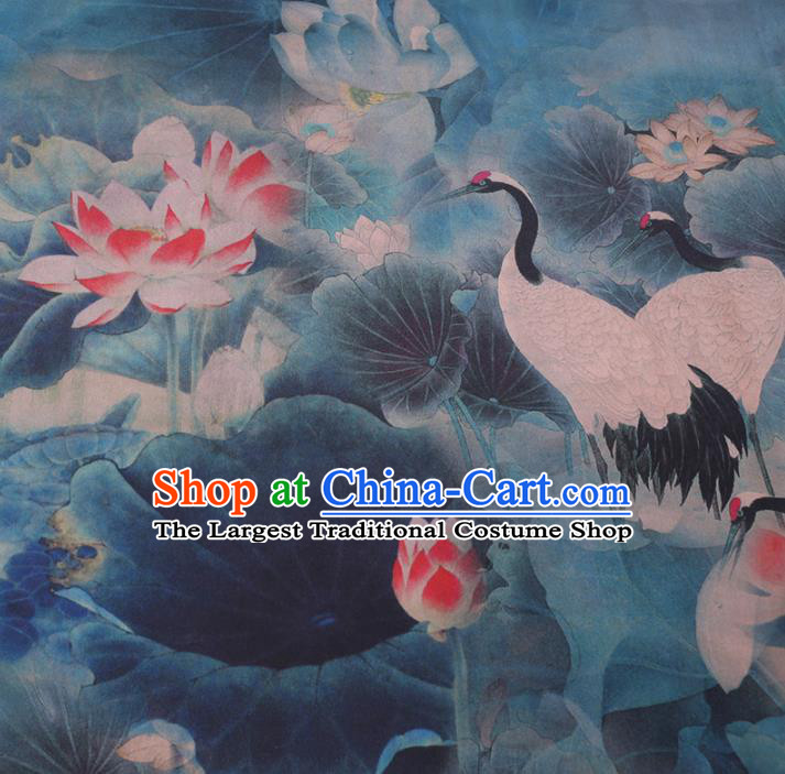Chinese Cheongsam Classical Cranes Lotus Pattern Design Blue Watered Gauze Fabric Asian Traditional Silk Material