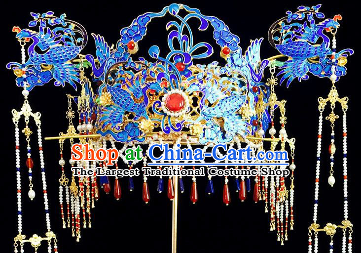 Chinese Traditional Ming Dynasty Queen Hair Crown Hairpins Ancient Handmade Hanfu Tassel Hair Accessories for Women