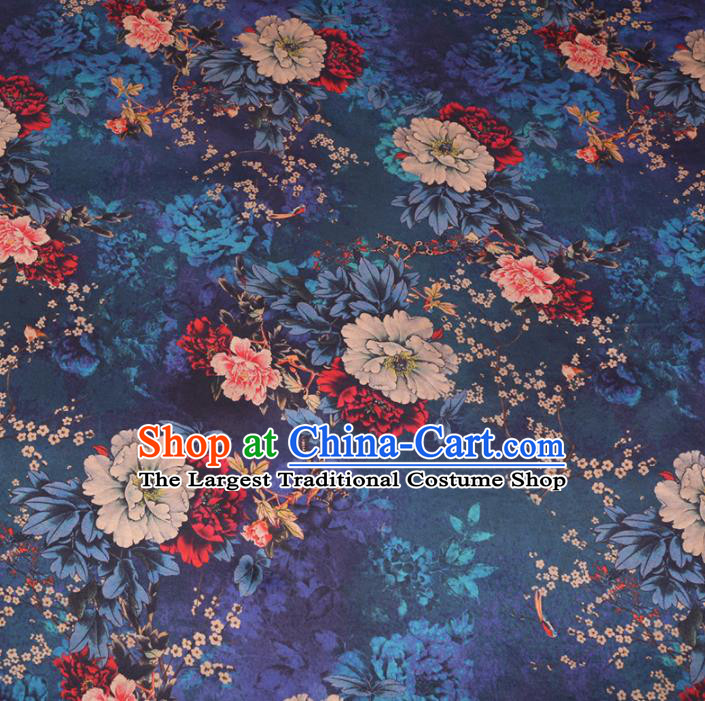Chinese Cheongsam Classical Plum Peony Pattern Design Peacock Blue Watered Gauze Fabric Asian Traditional Silk Material