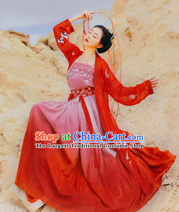 Chinese Ancient Bride Embroidered Red Dress Traditional Song Dynasty Female Swordsman Costumes for Women