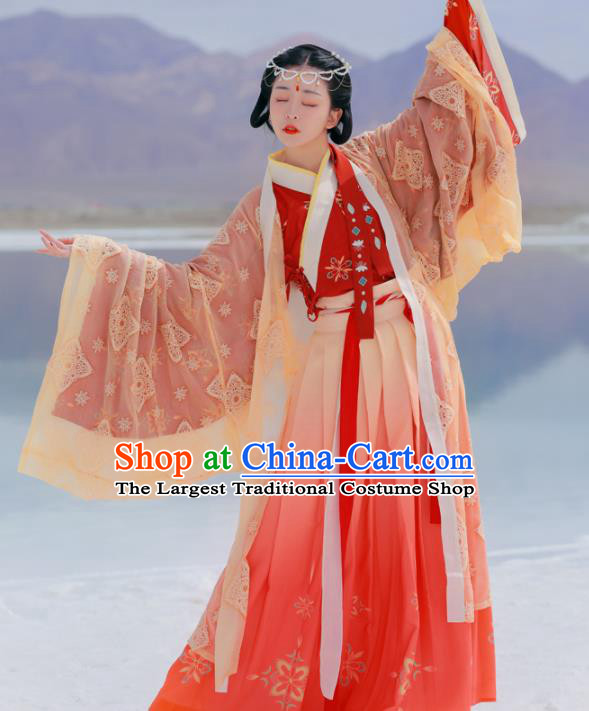 Chinese Ancient Goddess Embroidered Red Dress Traditional Jin Dynasty Court Princess Costumes for Women