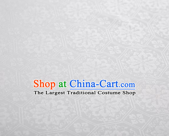 Chinese Classical Septaria Pattern Design White Mulberry Silk Fabric Asian Traditional Cheongsam Silk Material