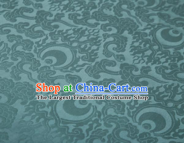 Chinese Classical Clouds Pattern Design Blue Mulberry Silk Fabric Asian Traditional Cheongsam Silk Material