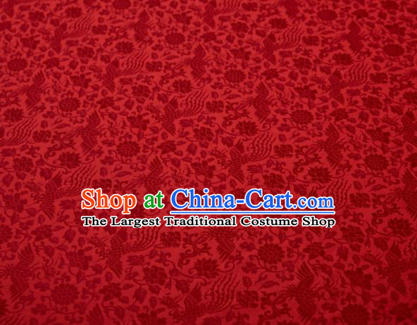 Chinese Classical Phoenix Peony Pattern Design Red Mulberry Silk Fabric Asian Traditional Cheongsam Silk Material