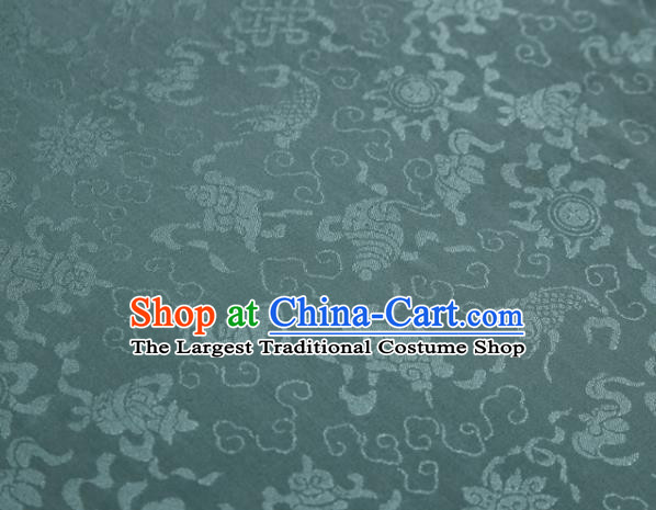 Chinese Classical Fukurokuju Pattern Design Light Green Mulberry Silk Fabric Asian Traditional Cheongsam Silk Material