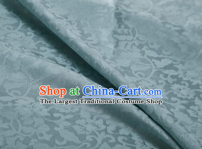 Chinese Classical Twine Lotus Pattern Design Light Blue Mulberry Silk Fabric Asian Traditional Cheongsam Silk Material