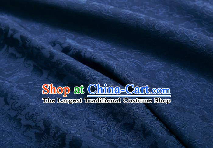 Chinese Classical Twine Lotus Pattern Design Navy Mulberry Silk Fabric Asian Traditional Cheongsam Silk Material