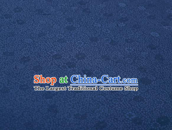 Chinese Classical Daisy Pattern Design Navy Mulberry Silk Fabric Asian Traditional Cheongsam Silk Material