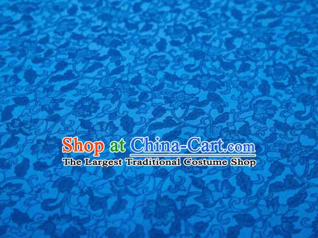 Chinese Classical Twine Flowers Pattern Design Blue Mulberry Silk Fabric Asian Traditional Cheongsam Silk Material
