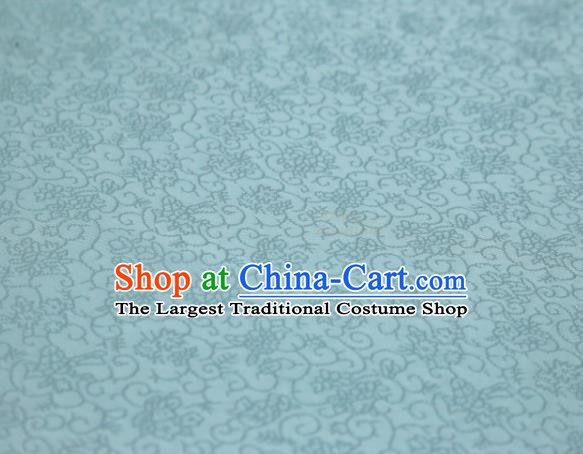 Chinese Classical Plant Pattern Design Light Blue Mulberry Silk Fabric Asian Traditional Cheongsam Silk Material