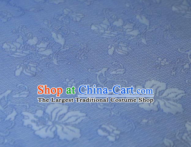 Chinese Classical Flowers Pattern Design Light Blue Mulberry Silk Fabric Asian Traditional Cheongsam Silk Material