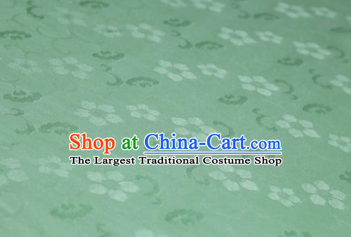 Chinese Classical Plum Pattern Design Green Mulberry Silk Fabric Asian Traditional Cheongsam Silk Material