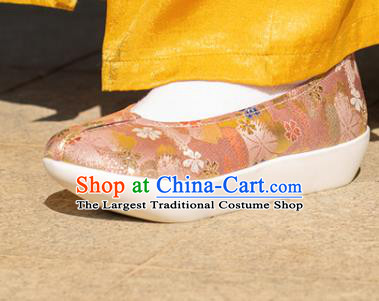 Chinese Traditional Pink Blood Stained Shoes Opera Shoes Hanfu Shoes Ancient Princess Shoes for Women