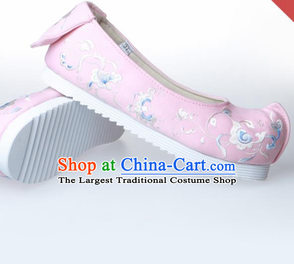 Chinese Traditional Handmade Pink Embroidered Shoes Opera Shoes Hanfu Shoes Ancient Princess Shoes for Women