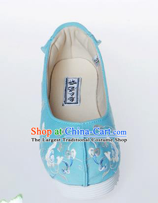 Chinese Traditional Handmade Blue Embroidered Shoes Opera Shoes Hanfu Shoes Ancient Princess Shoes for Women