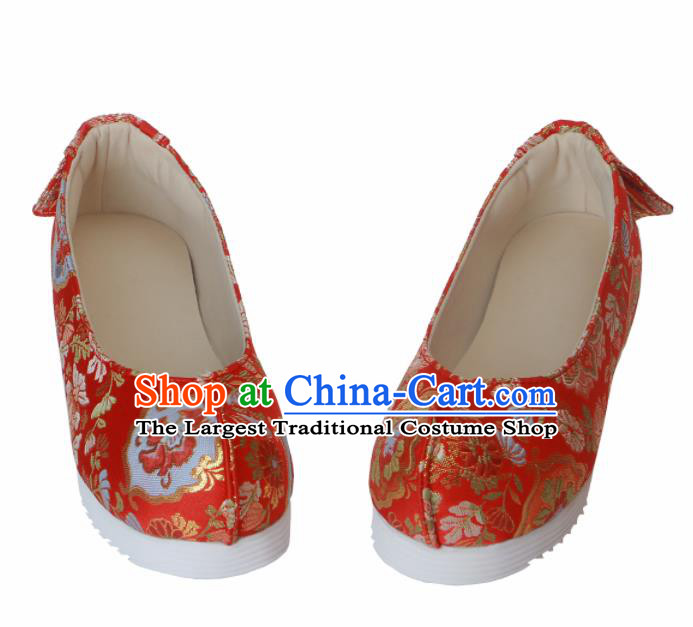 Chinese Traditional Handmade Red Satin Shoes Opera Shoes Hanfu Shoes Ancient Princess Shoes for Women