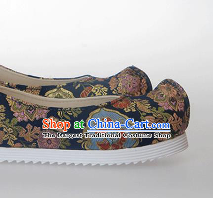 Chinese Traditional Handmade Navy Satin Shoes Opera Shoes Hanfu Shoes Ancient Princess Shoes for Women