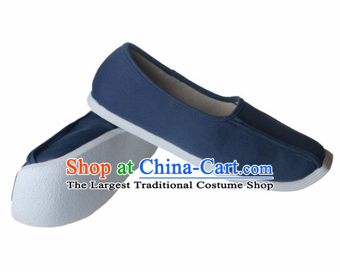 Chinese Traditional Ming Dynasty Taoist Navy Shoes Handmade Hanfu Shoes Ancient Scholar Shoes for Men